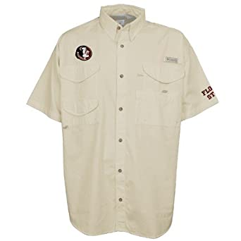 Columbia XX7891 Mens Collegiate Bonehead Short Sleeve Shirt, FSU - Fossil - 4X by Columbia
