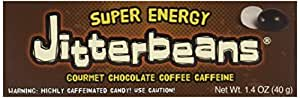 Jitterbeans Candy Coated Chocolate Covered Coffee Beans, Highly Caffeinated Candy, 1.40-Ounce Boxes (Pack of 12)