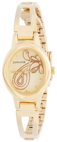 Sonata Everyday Analog Champagne Dial Women's Watch – 8085YM01