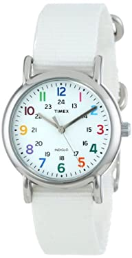 "Timex Women's T2N837 ""Weekender"" Watch with White Nylon Band"