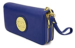 Canal Collection Double Zipper Around PVC Leather Wristlet Clutch Organizer Wallet with Emblem (Royal Blue)