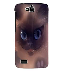 ColourCraft Scary Cat Design Back Case Cover for HUAWEI HONOR HOLLY