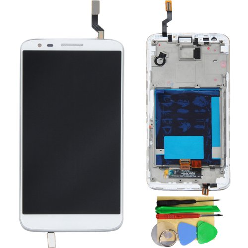 White Lcd Touch Screen Digitizer + Frame Assembly For Lg Optimus G2 D800 D801