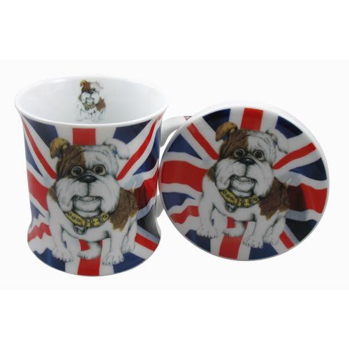 British Bulldog Union Jack Mug and Coaster set