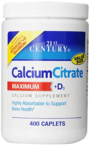 21St Century Calcium Citrate Plus D Maximum Caplets, 400 Count