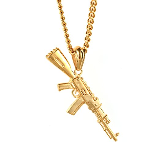 LUZO Mens Hip Hop Titanium Stainless Steel AK-47 Gun Pendant Rifle Necklace , 24 inch Chain (Gold Gun Necklace compare prices)