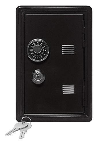 Kid's Coin Bank Locker Safe with Combination Lock and Key – 7″ High Black