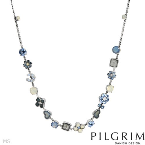 PILGRIM Skanderborg, Denmark Enamel Crystal and Simulated Gems Heart Ladies Necklace. Total Item weight 16.0 g.
