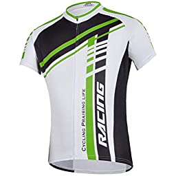Sponeed Men\'s Bicycle Jersey Polyester and Lycra Shirt Tops Sublimation print Size Asia XL/ US L Green-white