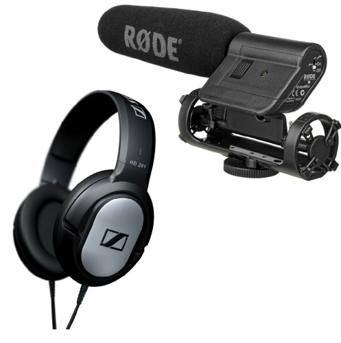 "Video Camera Use: Rode Videomic 1/2"" Condenser Shotgun Directional On-Camera Condenser Shotgun Microphone With Sennheiser Hd201 Headphones Kit - Also Ideal For Personal Audio Recorders"