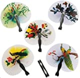 Pack of 12 - Paper Mini Chinese Oriental Folding Fans - Great Boys Girls Party Loot Bag Fillers