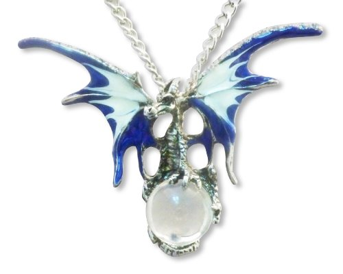 Mystical Blue Dragon Pendant with Clear Crystal Orb 20 Inch Necklace