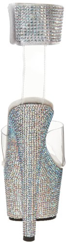 Pleaser Women's Bejeweled-712 Platform Sandal,Clear/Silver,9 M US