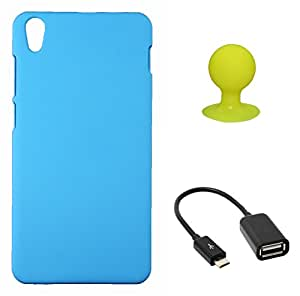 FCS Rubberised Hard Back Case For Lenovo S850 With Mobile Stand And OTG Cable