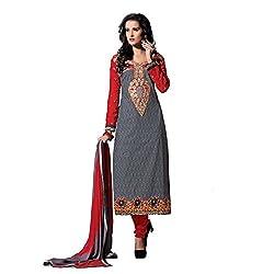 Meghali Women's Cotton Silk Zari Unstitched Suit (Tonika04_Multicolour_Free Size )