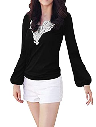 Ladies Long Sleeves Elastic Cuff Casual Pullover Blouse