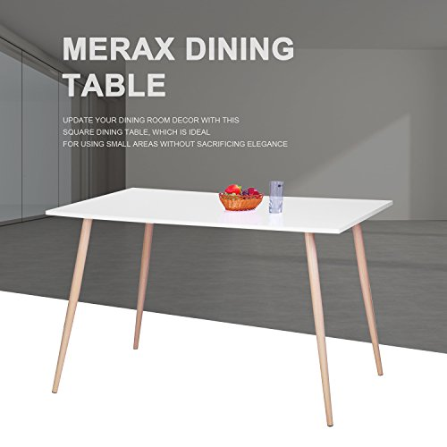 Merax 48 inch Dining Table Wood Table with Metal Leg Dining Room Table, White/Natural (White) (Wood Dinner Table compare prices)
