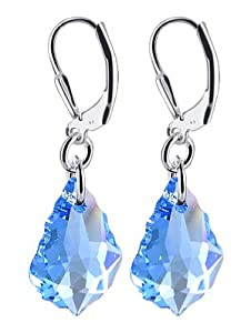 SCER303 Sterling Silver Baroque Aquamarine Crystal Earrings Made with Swarovski Elements
