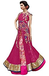 Justkartit Women's Dark Pink Color Zari Embroidery + Printed Lehenga Style Bottom Long floor Length Dress Material / Wedding Wear Dress (Latest 2016 Fashion) / Latest Indo-Western Collection
