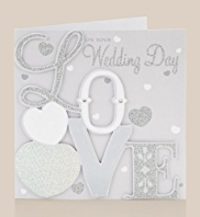 Glitter Wedding Day Card