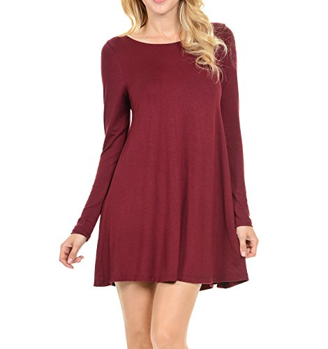 Stretchy Flowy Loose Fit Casual Work Cocktail Beach Lounge Evening Tunic Dresses Regular and Plus Size LS Wine M