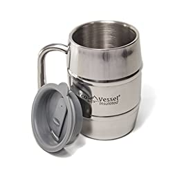 Eco Vessel Double Barrel Insulated Beer Mug/Coffee Cup, Silver Express, 16-Ounce