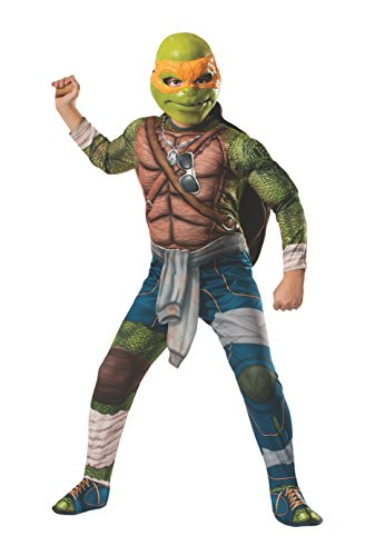 Rubies Teenage Mutant Ninja Turtles Deluxe Muscle-Chest Michelangelo Costume, Child Medium front-510678