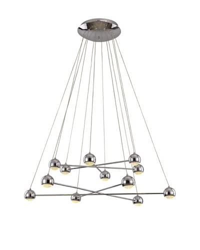 Bel Air Lighting LED 12-Light Propeller Pendant, Polished Chrome