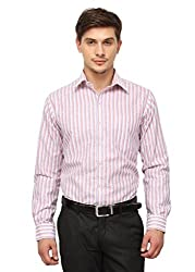 Copperline White Red Striped Slimfit Fullsleeves Cotton Formal Shirts