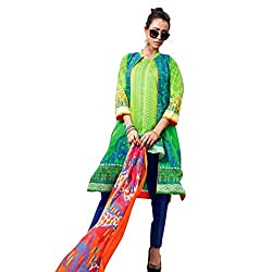 Pulp Mango Media's High on Fashion Collection of Pakistani Style, Pure Cambric Cotton lovely Printed with self Embroidered, Multi-Colored Unstitched Dress Material.