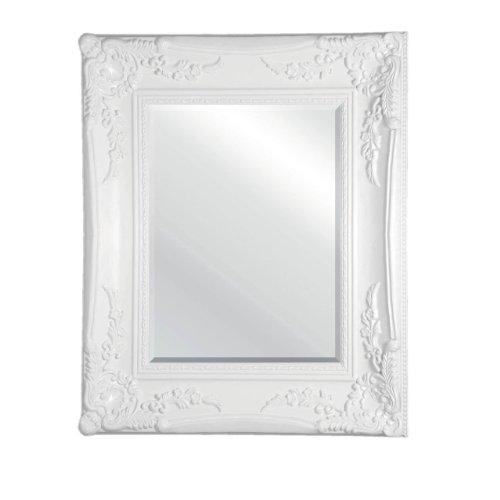 Antique Wooden White Frame Rectangular Wall Mirror