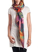 Womens Multicolor Abstract Sqaure Print Scarf Brown