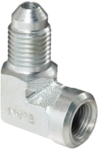 "Eaton Weatherhead C5455X4 Carbon Steel SAE 37 Degree (JIC) Flare-Twin Fitting, 90 Degree Elbow, 1/8"" NPT Female x 1/4"" JIC Male"