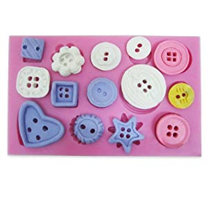 Silicone Fondant Mould Mold Cake Sugar paste Decorating Button pattern Baking Tool