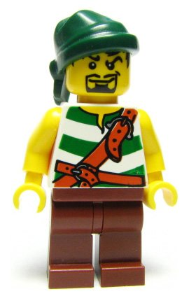 Pirate (Green Stripes) - LEGO Pirates Minifigure - 1