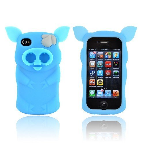 Sniffie Piggie Apple Iphone 4/4S Soft Rubbery Feel Silicone Skin Case Cover W/ Cord Wrapper & Earbud Holders - Sky Blue