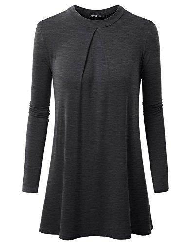 Thanth Womens Long Sleeleve High Neck Pleats Detail Tunic