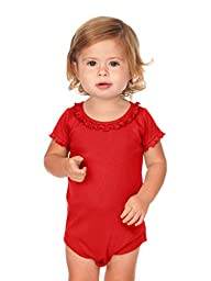 Kavio! Infants Sunflower Short Sleeve Onesie Red 18M