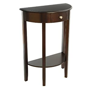 Bay Shore Collection Half Moon/Round Hall Table with Drawer, Espresso