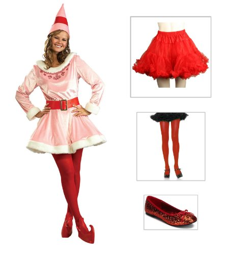 Jovi Elf Adult Costume with Red Petticoat, Red Glitter Shoes Size 6 & Red Tights