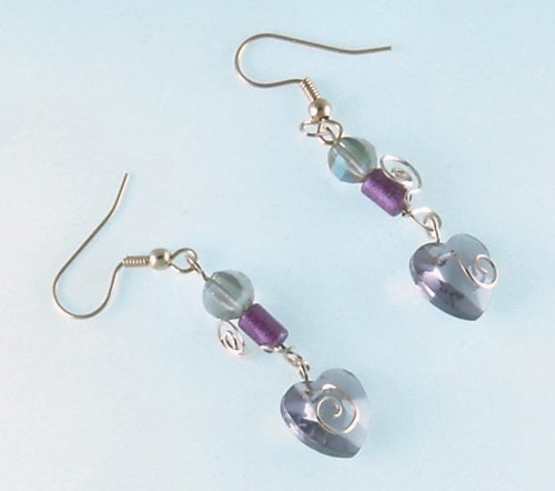Purple Faceted Heart Earrings with Gold Accents