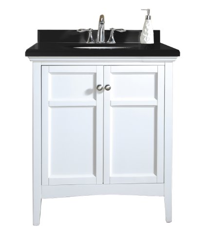 Ove Campo-30 Bathroom 30-Inch Vanity Ensemble With Black Granite Countertop And Ceramic Basin, White