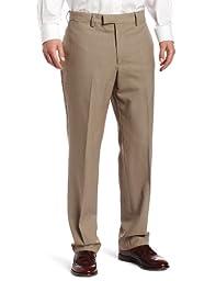 Louis Raphael LUXE 100% Wool Solid Modern Fit Flat Front Dress Pant, Khaki, 42x32