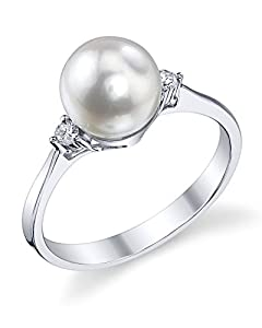 7.5-8.0mm White Akoya Cultured Pearl & Diamond Jordana Ring in 14K Gold