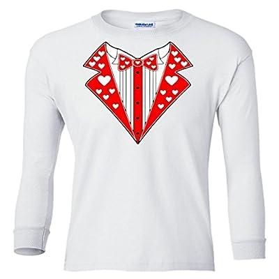 Valentine's Day Heart Tuxedo Youth long sleeve T-Shirt
