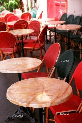 """Wallmonkeys Peel and Stick Wall Decals - Colorful Tables and Chairs in Sidewalk Cafe. Paris, France. - 18""""H x 12""""W Removable Graphic"""