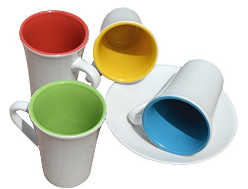 3 oz. Espresso Cups & Saucers. Set of four. Sparkling White w/Assorted Colors Inside. Modern, Sleek Design.