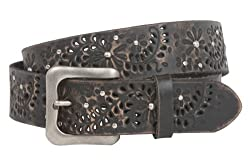 Snap On Vintage Cowhide Leather Foral Rivet Perforated Casual Belt Size: 38 Color: Black