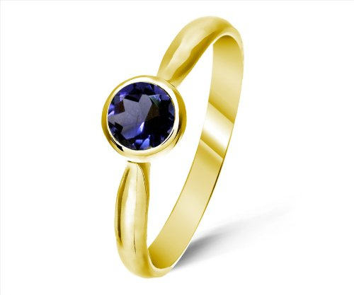 Timeless 9 ct Gold Ladies Solitaire Engagement Ring with Iolite 0.25 ct