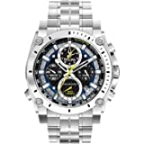 Bulova Champlain Men's Quartz Watch with Blue Dial Chronograph Display and Blue Stainless Steel Bracelet 96G175